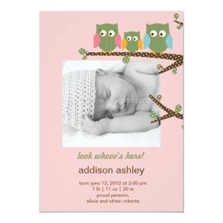 Dotty Owls Baby Girl Birth Announcement