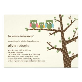 Dotty Owls Baby Shower Invitation