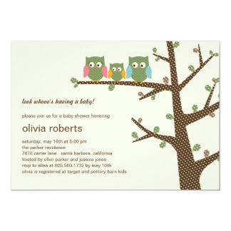 Dotty Owls Baby Shower Invitation