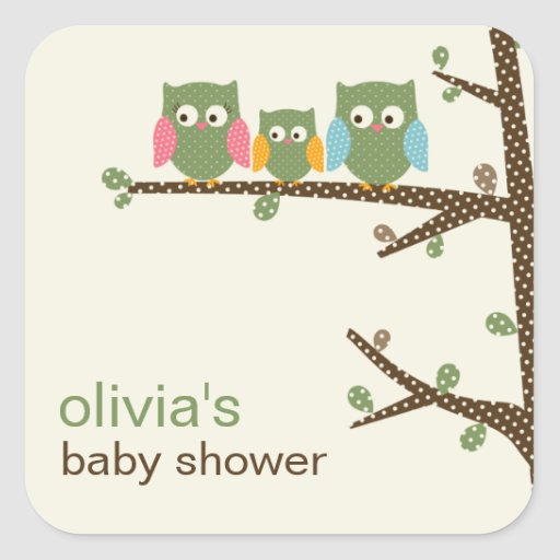 Dotty Owls Favor Stickers or Gift Tag Stickers Sticker