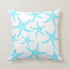 Dotty Starfish Pattern in Turquoise and White. Cushion