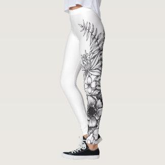 Dotwork Flower Tattoo Print Leggings