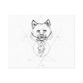 Dotwork wolf gallery wrapped canvas