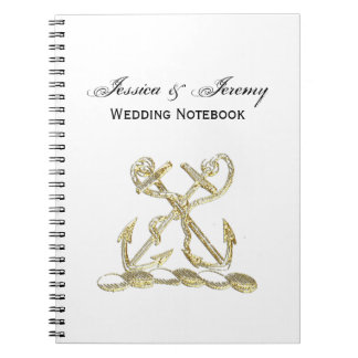 Double Anchor Heraldic Crest Emblem Faux Gold Notebook