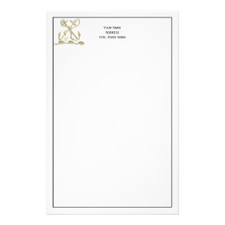 Double Anchor Heraldic Crest Emblem Faux Gold Stationery