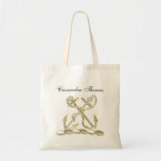 Double Anchor Heraldic Crest Emblem Faux Gold Tote Bag
