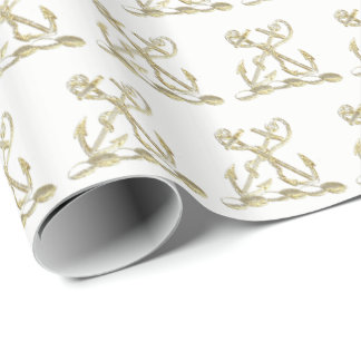 Double Anchor Heraldic Crest Emblem Faux Gold Wrapping Paper