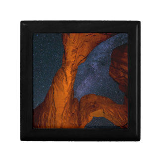 Double Arch And The Milky Way - Utah Small Square Gift Box