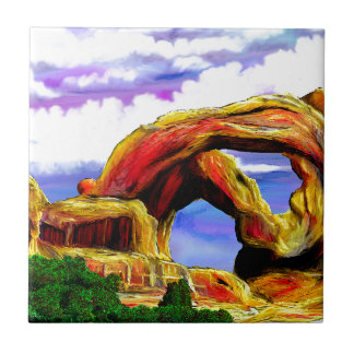 Double Arch Landscape Painting Ceramic Tile