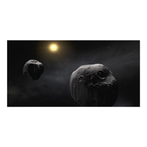Double Asteroid Antiope Space Art Photo Greeting Card