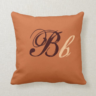 Double B Monogram in Brown and Beige I Throw Cushion