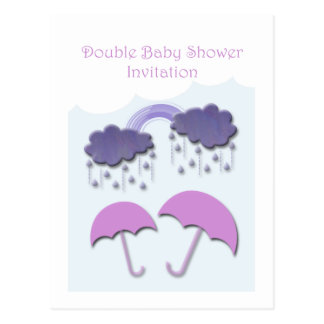 Double Baby Shower Invitation Cards Post Card