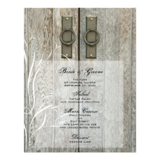 Double Barn Doors Country Wedding Menu 21.5 Cm X 28 Cm Flyer