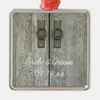 Double Barn Doors Country Wedding Metal Ornament