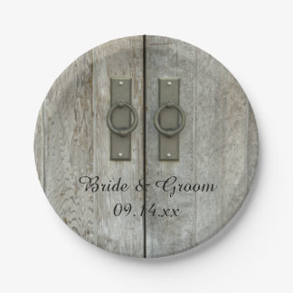 Double Barn Doors Country Wedding Paper Plate