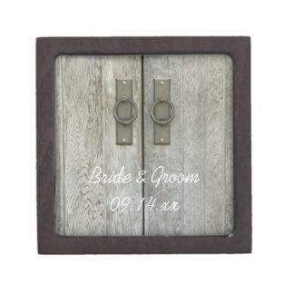 Double Barn Doors Country Wedding Premium Trinket Box