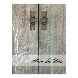 Double Barn Doors Country Wedding Save the Date Postcard