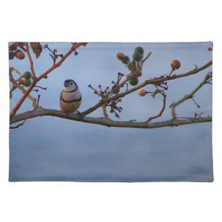 Double-barred finch on branch placemat
