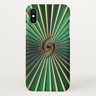 Double Bass Clef Green Gold Metal iPhone X Case