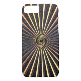 Double Bass Clef Spiral Metal Sunburst iPhone Case