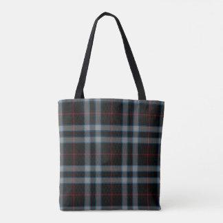 Double Black Blue Grey Red Tartan Plaid Tote Bag