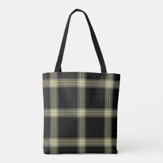 Double Black Yellow Red Tartan Plaid Tote Bag