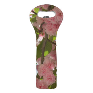 Double Blossoming Cherry Tree III Spring Floral Wine Bag