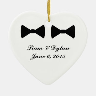 """Double Bow Ties"" Heart Ornament"