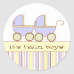 Double Carriage Twin Boys Round Stickers