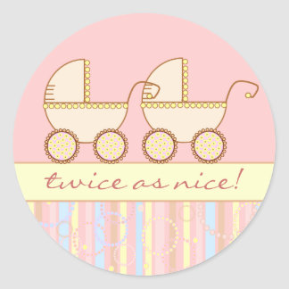 Double Carriage Twin Girls Classic Round Sticker