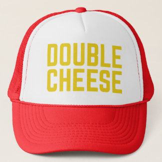 DOUBLE CHEESE fun slogan typographic trucker hat