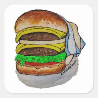 Double Cheeseburger Square Sticker