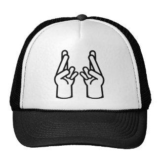 double crossed finger and wish good luck trucker hats