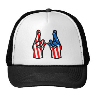 double crossed finger and wish good luck hats