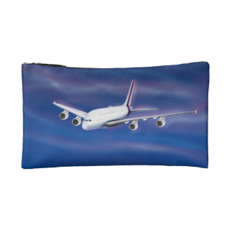 Double Decker Commercial Airplane Cosmetics Bags