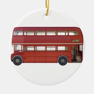 Double Decker Red Bus Ceramic Ornament
