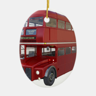 Double Decker Red Bus in Front Profile Ceramic Ornament