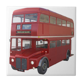 Double Decker Red Bus in Front Profile Ceramic Tile