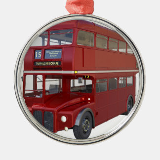 Double Decker Red Bus in Front Profile Metal Ornament