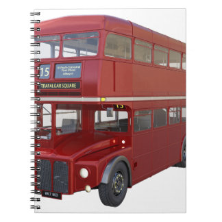 Double Decker Red Bus in Front Profile Notebooks