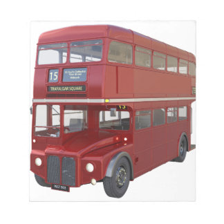 Double Decker Red Bus in Front Profile Notepad