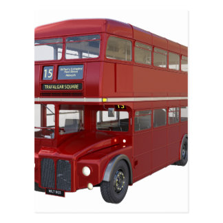 Double Decker Red Bus in Front Profile Postcard