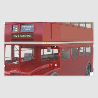 Double Decker Red Bus in Front Profile Rectangular Sticker