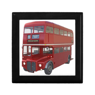 Double Decker Red Bus in Front Profile Small Square Gift Box