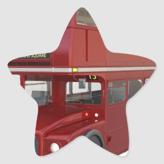 Double Decker Red Bus in Front Profile Star Sticker