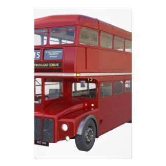 Double Decker Red Bus in Front Profile Stationery