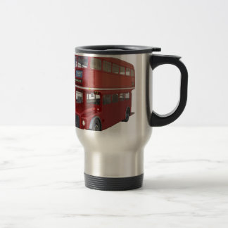 Double Decker Red Bus in Front Profile Travel Mug