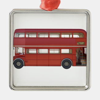 Double Decker Red Bus Metal Ornament