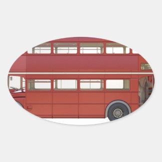 Double Decker Red Bus Oval Sticker