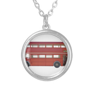 Double Decker Red Bus Silver Plated Necklace